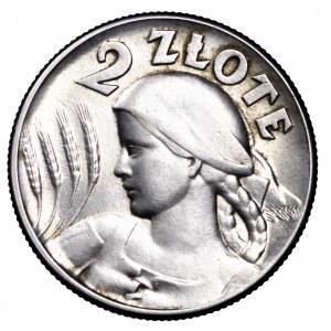II Rzeczpospolita, 2 złote 1925, Żniwiarka, bez kropki- piękna