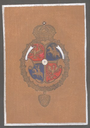 Herb Rzeczypospolitej, skóra barwiona, Lwów ca. 1914