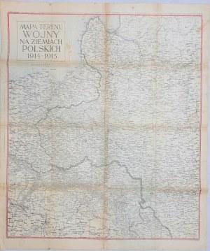 Mapa terenu wojny na ziemiach polskich 1914-1915 Litografia Pruszyński
