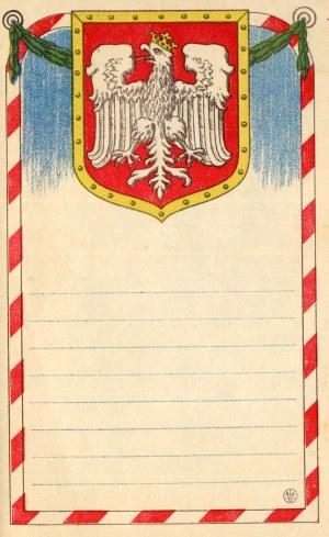 Ozdobny papier listowy, Orzeł Biały na tarczy herbowej