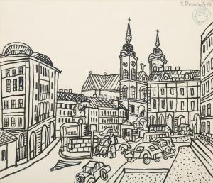 Edward Dwurnik, MAŁY RYNEK WKRAKOWIE, 1968