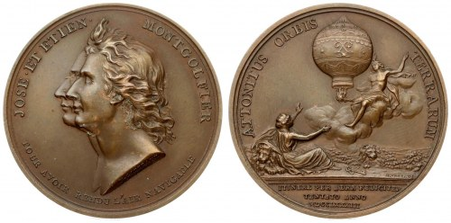 France Medal Joseph and Etienne Montgolfier 1783(1978). Attonitus Orbis Terrarum. (1978 BR ...