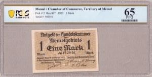 Germany Memel 1 Mark 1922 Chamber of Commerce; Territory of Memel Pick #  2; Ros.847; Serial ...