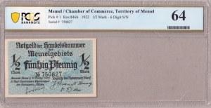 Germany Memel 1/2 Mark 1922 Chamber of Commerce; Territory of Memel Pick #  1; Ros.846b; 6 Digit S...