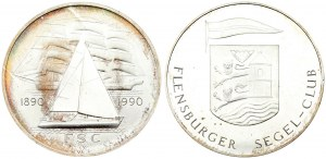Germany Medal 1990 100 years Flensburg Sailing Club. Averse: Coat of arms. Reverse...