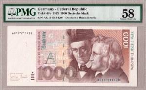 Germany Federal Republic 1000 Deutsche Mark 1993 Banknote RARE. Pick # 44b. S/N AG1572114Z8...