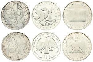 Germany Federal Republic 10 Mark 1998 J & 10 Euro 2002G - 2003D  Stylized eagle. Silver. KM 191...