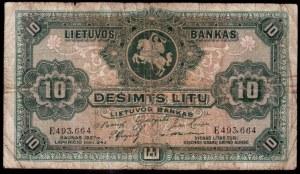 Lithuania 10 Litu 1927 Banknote Kaunas 24.11.1927 № E493664...