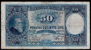 Lithuania 50 Litu 1928 Banknote Kaunas 31.03.1928 № A574718...