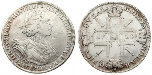 Russia 1 Rouble 1725 СПБ St. Petersburg. Peter I (1699-1725). Averse: Laureate bust right. Reverse...