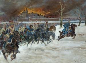 Kossak Jerzy, WYJŚCIE WOJSK NAPOLEOŃSKICH Z MOSKWY, 1924