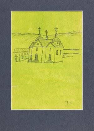 Nowosielski Jerzy, Cerkiew murowana na zielonym tle / na odwrocie szkic wsi z drewnianą cerkwią zrębową