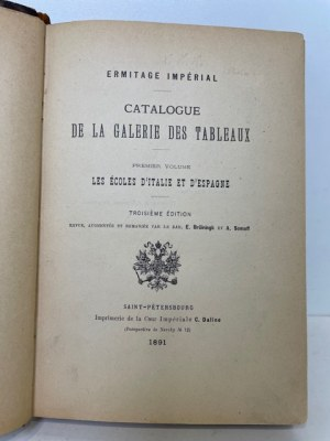 ERMITAGE IMPERIALE CATALOGUE DE LA GALERIE DES TABLEAUX