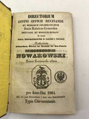Directorium Divini Offici...[Katalog mszy św. do odprawienia][Modlitwa za cara Aleksandra II Romanowa w j. polskim]