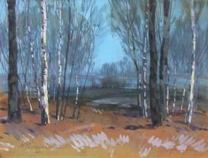 Basile Poustochkine (1893 Moskwa – 1973 Neuilly sur Seine), Pejzaż jesienny z drzewami, 1966 r.