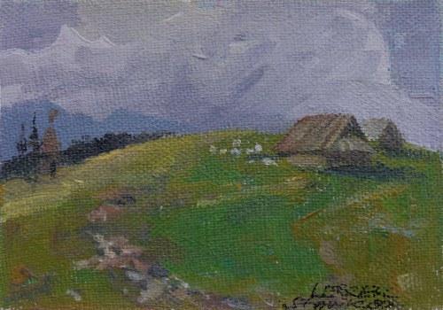 Leszek Stańko (1924 Sosnowiec-2010 Katowice), Pejzaż z chatą i drogą