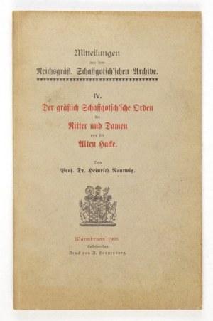 NENTWIG Heinrich - Der gräfisch Schaffgotsch'sche Orden der Ritter und Damen von der Alten Hacke. Warmbrunn [...