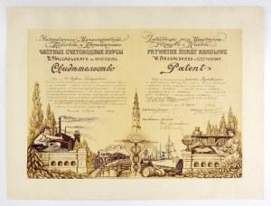 [CZĘSTOCHOWA]. Dyplom ukończenia Prywatnych Kursów Handlowych W. Nassalskiego w Częstochowie, dat....