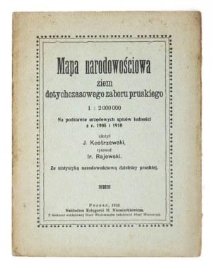 [POLSKAPN.-ZACH.]. Mapa narodowościowa ziem dotychczasowego zaboru pruskiego na podstawie urzęd. spisu ludności z 1910 ...