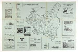 [POLSKA]. Mapa Polskich ważniejszych szlaków turystyki samochodowej. Mapa na ark. 63,1x94,7 cm. Lata 30....