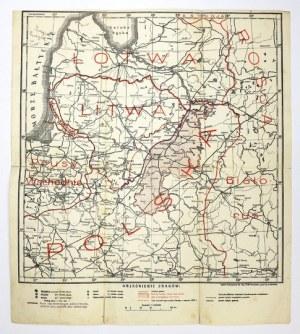 [WILEŃSZCZYZNA]. Nowa granica polski na Wileńszczyźnie. Mapa form. 33,1x31,8 na ark. 36x34,3 cm....