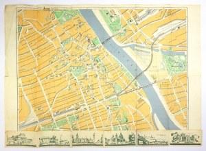 [WARSZAWA]. Warschau. Stadtplan und Wegweiser. Plan barwny form. 45x50,5 cm. 1938.