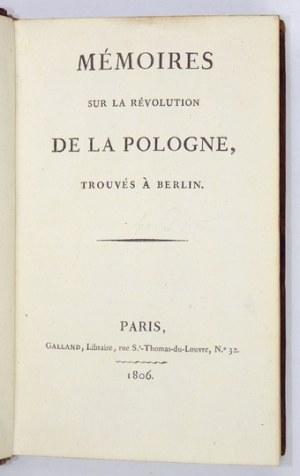 [PISTORJ. J.] – Memoires sur la Révolution de la Pologne. Paris 1806. Z rozkładanym planem Warszawy.
