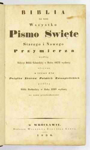 BIBLIA to jest Wszystko Pismo Święte Starego i Nowego Przymierza według edycyi Biblii Gdańskiey w Roku 1632 wydaney, uło...