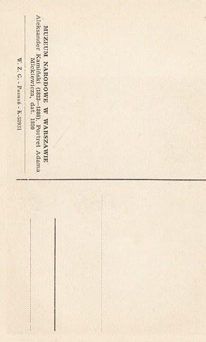 karta pocztowa PORTRET ADAM MICKIEWICZA.
