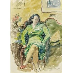 Leonard PĘKALSKI (1896-1944), Portret pani Wandy P. w zielonej sukni