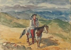 Leonard PĘKALSKI (1896-1944), Hucuł na koniu [rozmyślanie starego Hucuła], 1934