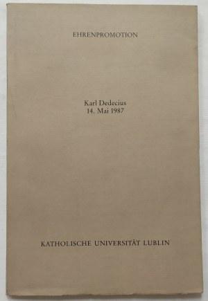 Dedecius Karl • Publikacja upamiętniająca nadanie tytułu Doktora Honoris Causa KUL