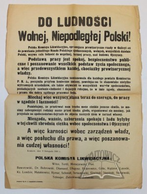 (POLSKA Komisya Likwidacyjna) Do Ludności Wolnej, Niepodległej Polski!