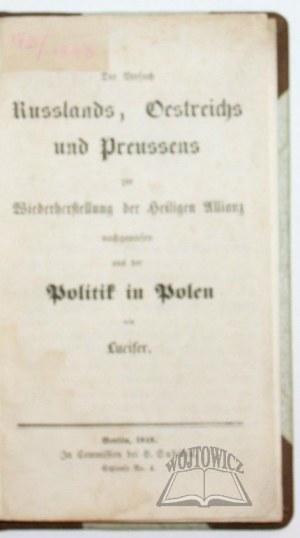 VERSUCH (der) Russlands, Oestreichs und Preussens zur Wiederherstellung der Heiligen Allianz