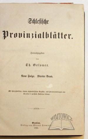 OELSNER Th(eodor), Schlesische Provinzialblätter.