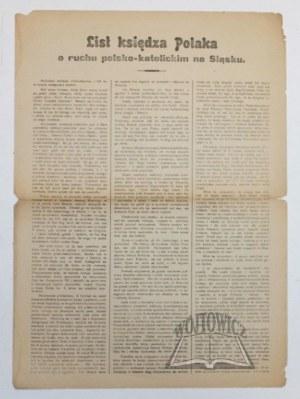 LIST księdza Polaka o ruchu polsko-katolickim na Sląsku.