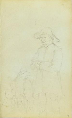 Jacek Malczewski (1854-1929), Stojący wieśniak w kapeluszu i para psów