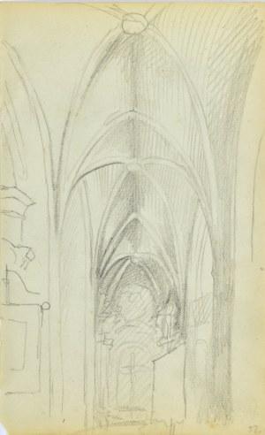 Jacek Malczewski (1854-1929), Widok na boczną nawę kościoła z gotyckim sklepieniem