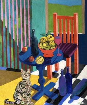 David Schab, Martwa natura z pigwami z żółtym dywanem, 2020