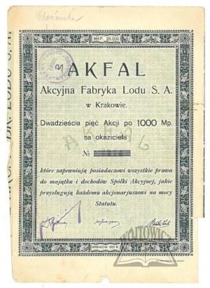 (AKCJE) AKFAL Akcyjna Fabryka Lodu S. A. w Krakowie.