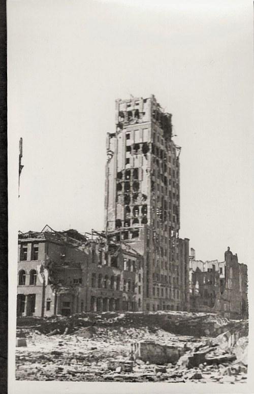 """Warszawa 1944 Powstanie Warszawskie """"Prudential"""" Po Zbombardowaniu Eugeniusz Haneman Fotografia [Vintage Print]"""