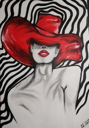 Violetta Litke, Kobieta w czerwonym kapeluszu, 2020