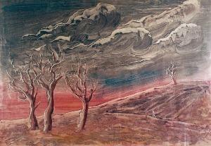 Alfred LENICA (1899-1977), Pejzaż surrealistyczny z drzewami