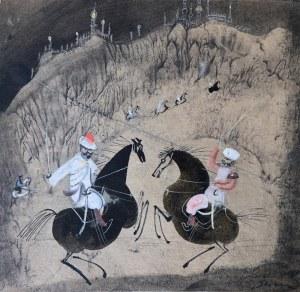 Józef Wilkoń, Projekt ilustracji do książki O Księciu Ibrahimie i pięknej Sinedhur, 1965