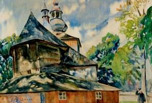 Julian Fałat (1853 Tuligłowy - 1929 Bystra), Kościół w Mikuszowicach, 1913 r.