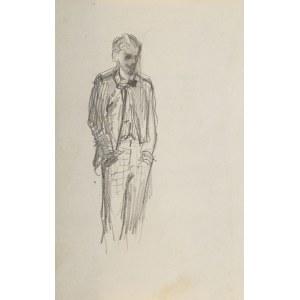 Stanisław Batowski Kaczor (1866 Lwów – 1946 tamże), Szkic młodego mężczyzny, stojącego z rękoma w kieszeniach