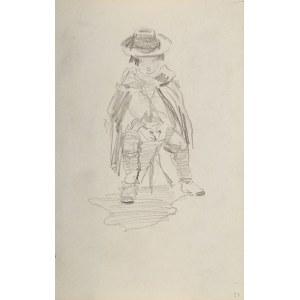 Stanisław Batowski Kaczor (1866 Lwów – 1946 tamże), Siedzący na stołku chłopiec okryty peleryną z kapeluszem na głowie
