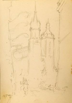 Józef Pieniążek (1888 Pychowice -1953 Kraków), Widok na Kościół Mariacki w Krakowie, 1949 r.