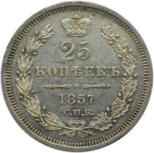 Rosja, Aleksander II, 25 kopiejek 1857 FB, Petersburg, bardzo ładne!