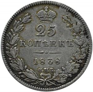 Rosja, Mikołaj I, 25 kopiejek 1838 HG, Petersburg